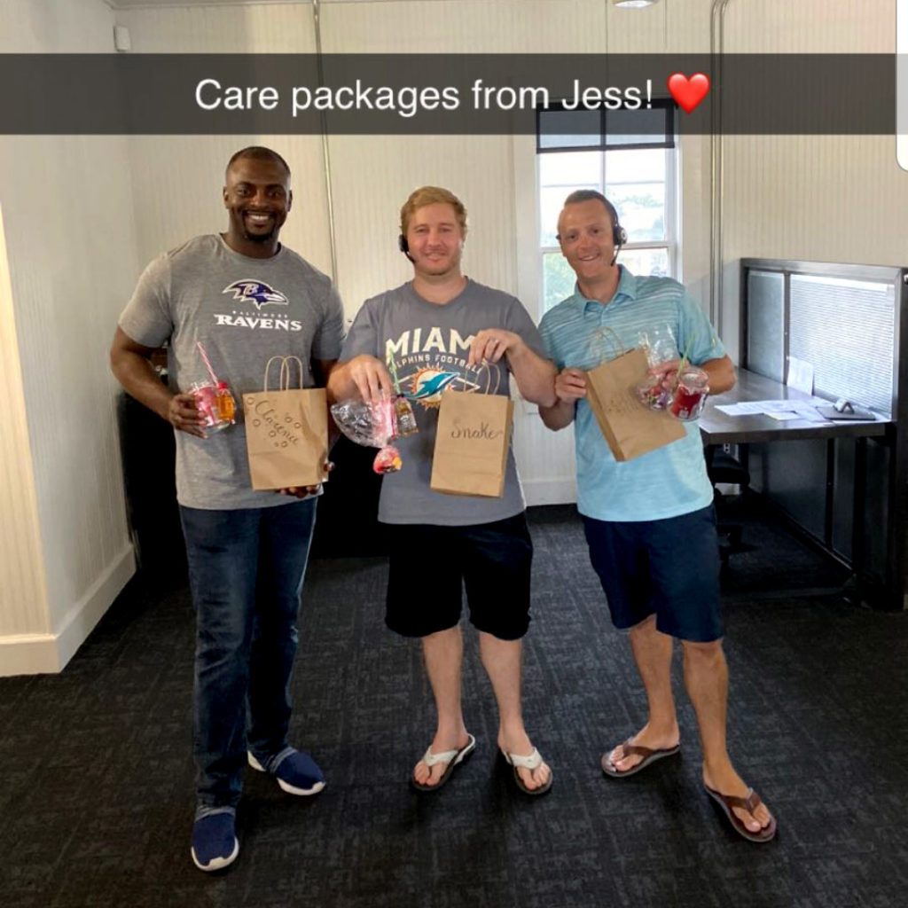 three agents with their thank you kits
